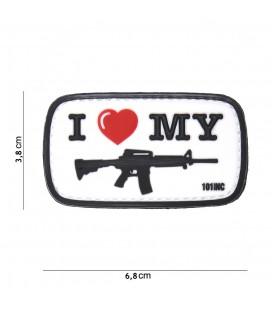 PARCHE PVC I LOVE MY M4 BLANCO