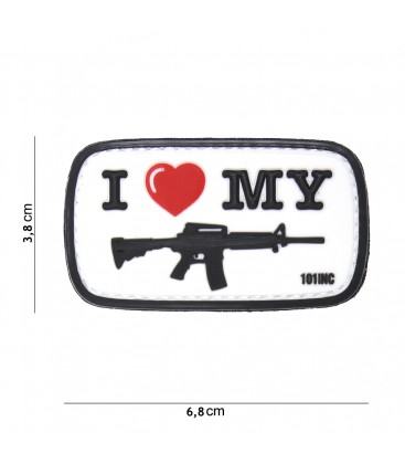 PARCHE PVC I LOVE MY M4 BLANCO