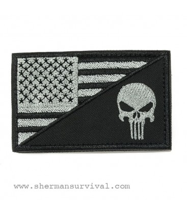 PARCHE BANDERA USA PUNISHER NEGRO G003-006-04