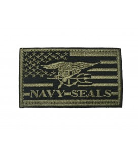 PARCHE BANDERA USA NAVY SEALS VERDE G003-070-GREEN