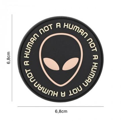 PARCHE PVC NOT HUMAN NEGRO/ROSA
